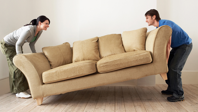Renters moving sofa