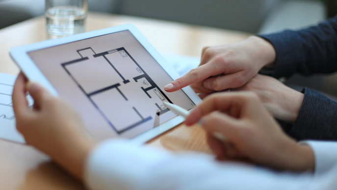 Ipad screen, floor plans